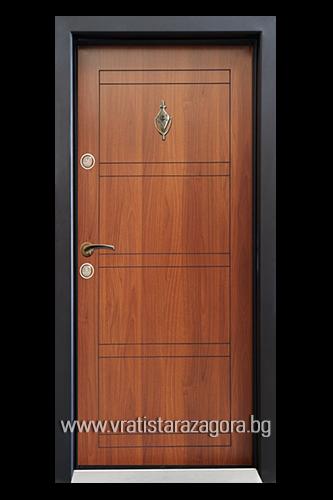 Входна врата модел СЛ-102 цвят Металик Орех