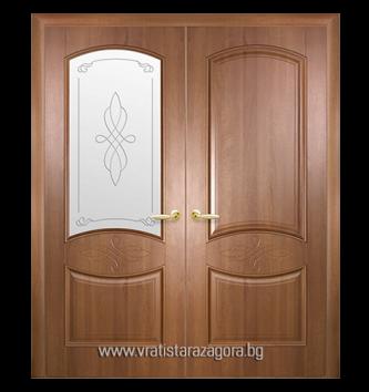 Двукрила портална врата модел Дона цвят Златна елха