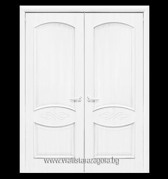 Двукрила портална врата модел Дона плътна цвят Бял