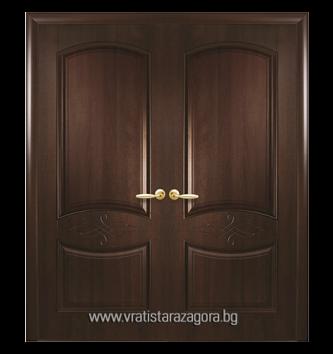 Двукрила портална врата модел Дона плътна цвят Кестен