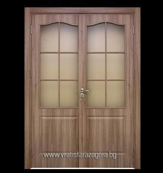 Двукрила портална врата модел Фортис остъклена цвят Златен дъб