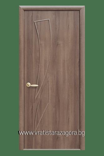 Интериорна врата модел Камея Плътна цвят Златна Елха
